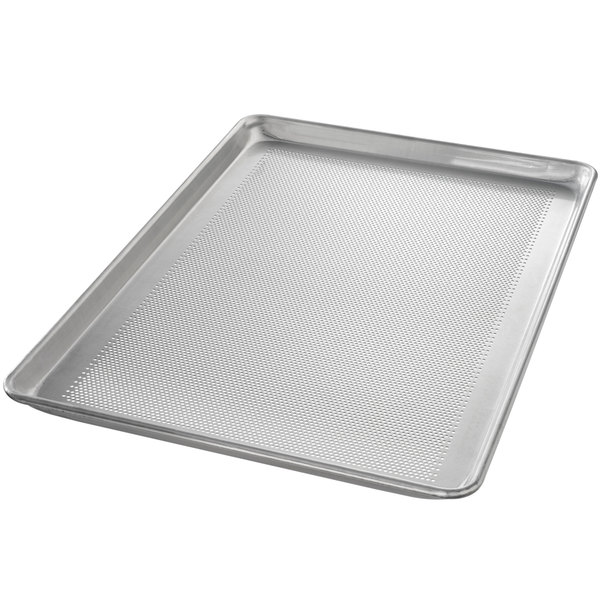 "Chicago Metallic 44895 Perforated Full Size 18 Gauge Glazed Aluminum Customizable Sheet Pan - Wire in Rim, 18"" x 26"""