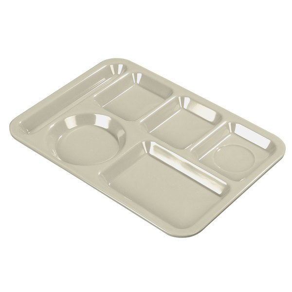 "Carlisle 614PC25 Tan 10"" x 14"" Left Polycarbonate Hand 6 Compartment Tray Main Image 1"