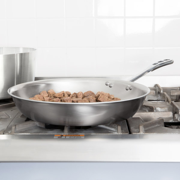 """Vollrath 69214 Tribute 14"""" Tri-Ply Stainless Steel Fry Pan with TriVent Chrome Plated Handle Main Image 2"""