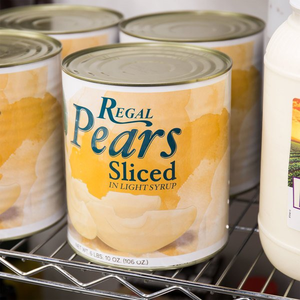 Regal Foods #10 Can Sliced Pears in Light Syrup - 6/Case