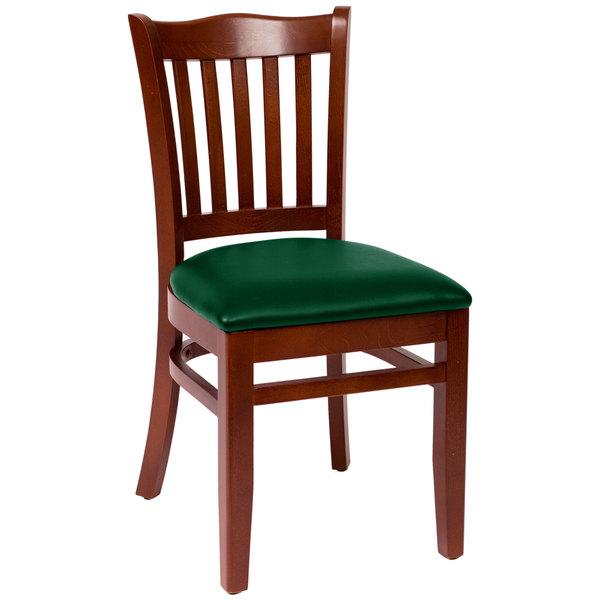 "BFM Seating LWC7218MHGNV Princeton Mahogany Beechwood School House Side Chair with 2"" Green Vinyl Seat Main Image 1"
