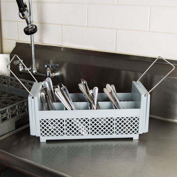 Cambro 8FB434151 Soft Gray 8 Compartment Half Size Camrack Flatware Basket with Handles Main Image 4