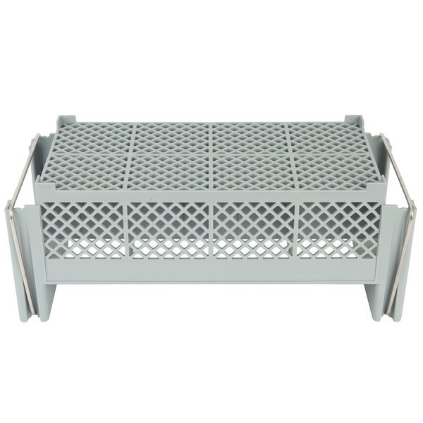 Cambro 8FB434151 Camrack Polypropylene 8-Compartment Half Flatware Basket with Handle Soft Gray