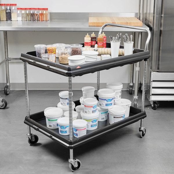 """Metro BC2636-2DBL Black Utility Cart with Two Deep Ledge Shelves - 38 3/4"""" x 27"""" Main Image 2"""