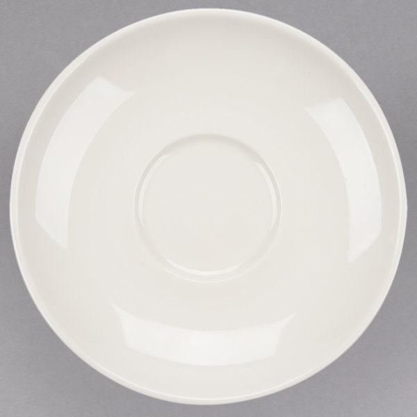 "Tuxton VEE-064 Venice 6 1/2"" Ivory (American White) China Saucer - 36/Case"