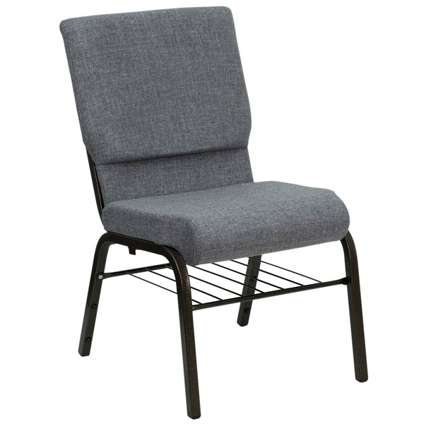 """Flash Furniture XU-CH-60096-BEIJING-GY-BAS-GG Gray 18 1/2"""" Wide Church Chair with Communion Cup Book Rack - Gold Vein Frame"""