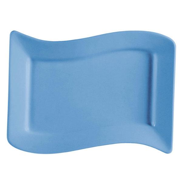 "CAC SOH-14LB Color Soho 13 1/2"" x 8 7/8"" Light Blue Rectangular Stoneware Platter - 12/Case"