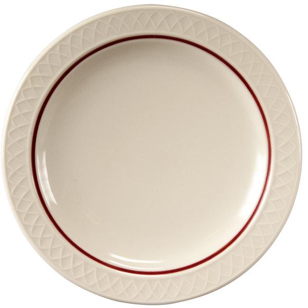 "Homer Laughlin 1492-0344 Gothic Maroon Jade 6 1/4"" Narrow Rim Off White Plate - 36/Case"