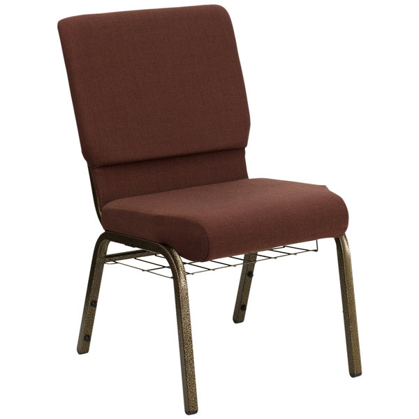 """Flash Furniture FD-CH02185-GV-10355-BAS-GG Brown 18 1/2"""" Wide Church Chair with Communion Cup Book Rack - Gold Vein Frame"""