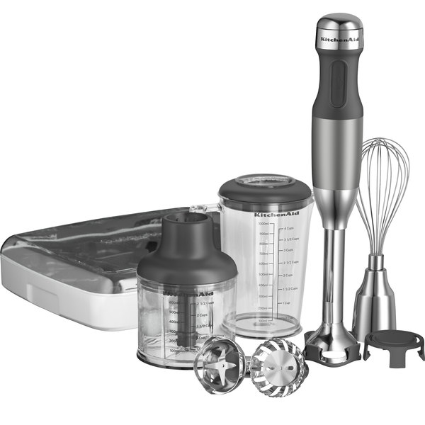 "KitchenAid KHB2561CU Contour Silver 5 Speed Hand Blender with 8"" Shaft and Interchangeable Blade Assemblies"
