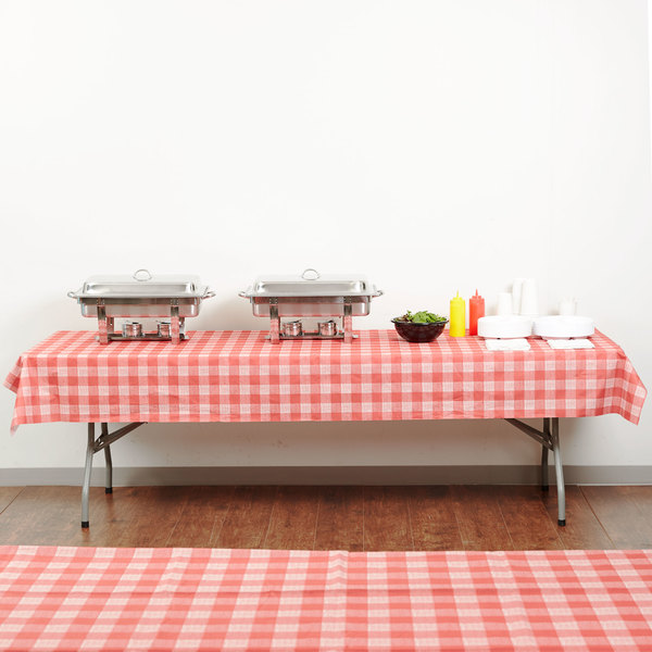 """Hoffmaster 236414 50"""" x 108"""" Linen-Like Red Check Patterned Table Cover - 24/Case"""