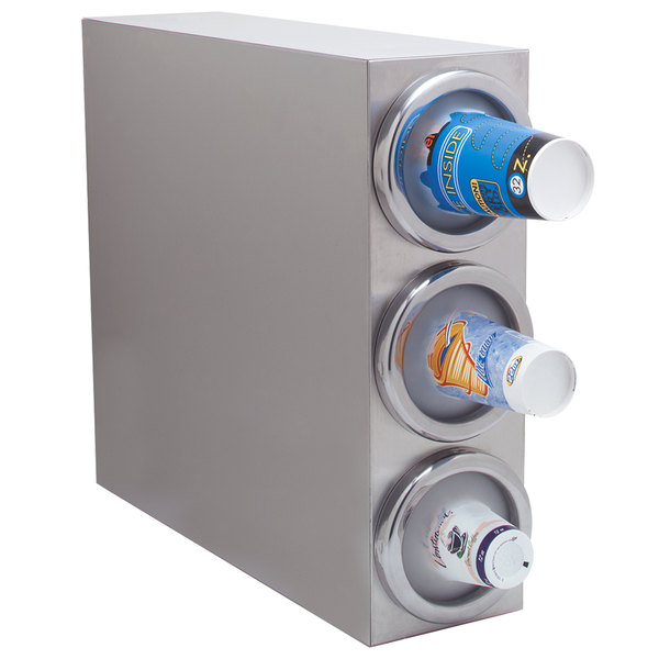 Carlisle 38883G Stainless Steel 3-Slot Vertical 8 - 48 oz. Countertop Cup Dispenser Cabinet Main Image 1