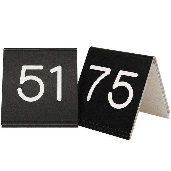 """Cal-Mil 269C-2 Black Engraved Number Tent Sign Set 51-75 - 3"""" x 3"""""""