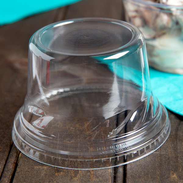 Fabri-Kal Indulge DLDE16/24TNH Clear Tall Dome PET Lid for 5 oz., 8 oz., and 12 oz. Sundae Cups - No Hole - 112/Pack Main Image 2