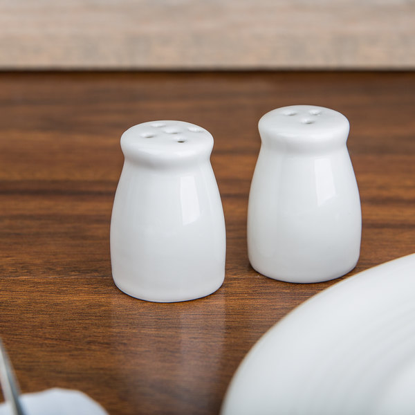 American Metalcraft PISP2 Miniature Porcelain Bellied Salt and Pepper Shaker Set - 6/Case