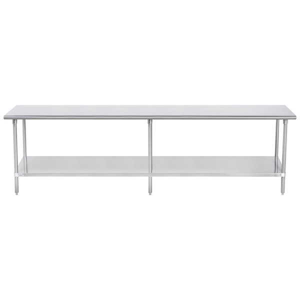 "Advance Tabco SAG-2410 24"" x 120"" 16 Gauge Stainless Steel Commercial Work Table with Undershelf"
