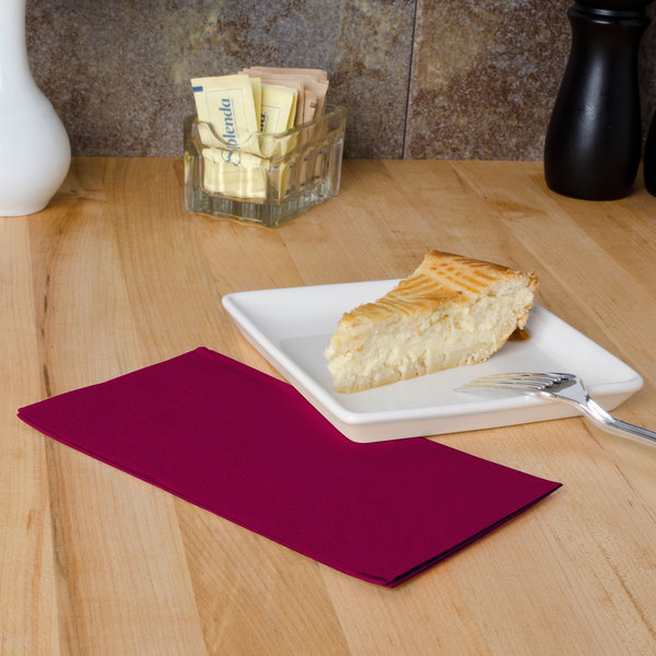 "Burgundy Paper Dinner Napkins, 2-Ply, 15"" x 17"" - Hoffmaster 180524 - 1000/Case"