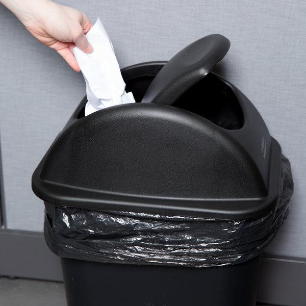 "Rubbermaid FG306600BLA Black 15"" Untouchable Soft Wastebasket Lid"