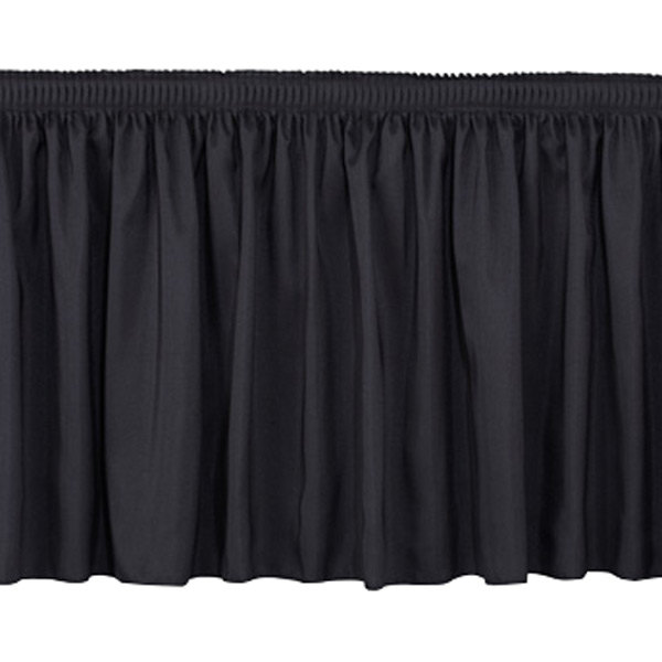 """National Public Seating SS16-96 Black Shirred Stage Skirt for 16"""" Stage - 15"""" x 96"""" Main Image 1"""