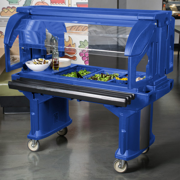 Cambro VBR5186 Navy Blue 5' Versa Food / Salad Bar with Standard Casters Main Image 6