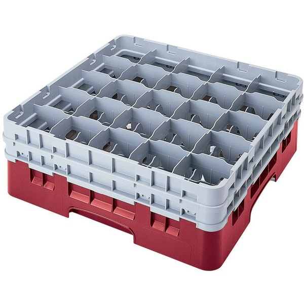 "Cambro 25S738416 Camrack 7 3/4"" High Customizable Cranberry 25 Compartment Glass Rack"