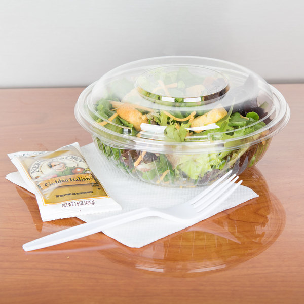 Dart PET24BCD PresentaBowls 24 oz. Clear Plastic Bowl with Dome Lid - 126/Case Main Image 4