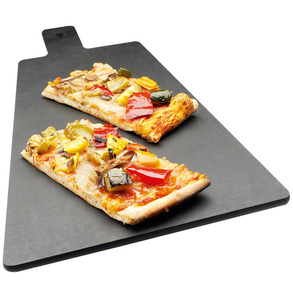 """Cal-Mil 1535-12-13 Black Trapezoid Flat Bread Serving / Display Board with Handle - 12"""" x 8"""" x 1/4"""""""