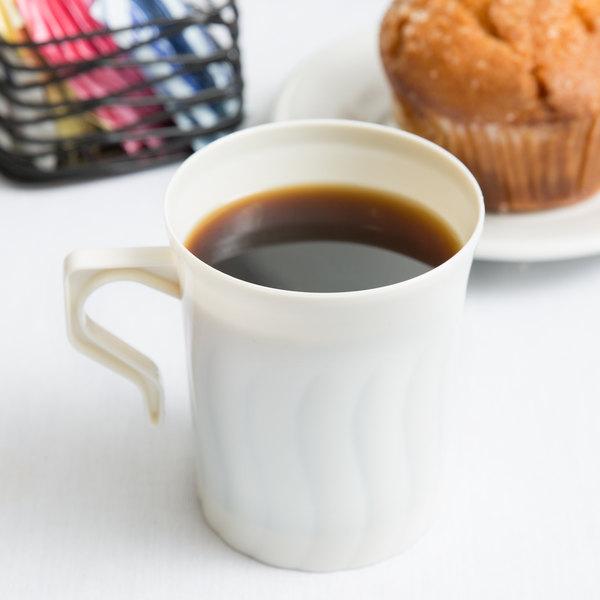Fineline Flairware 208-BO Bone / Ivory 8 oz. Plastic Coffee Mug - 8/Pack Main Image 6