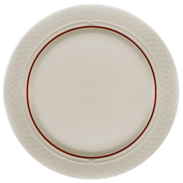 """Homer Laughlin 1492-0333 Gothic Maroon Jade 10"""" Off White Mid Rim Plate - 24/Case"""