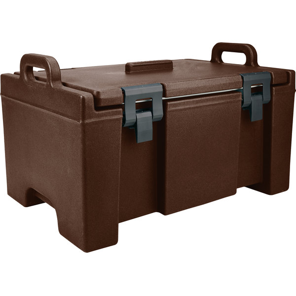"""Cambro UPC100131 Camcarrier® Dark Brown Top Loading 8"""" Deep Insulated Food Pan Carrier Main Image 1"""