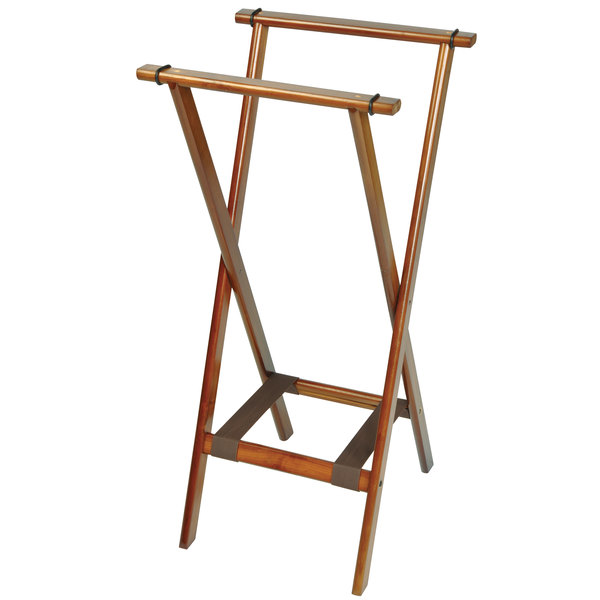 """CSL 1178BSO Back Saver 38"""" Dark Walnut Extra Tall Wood Tray Stand with Brown Bottom Straps - 5/Pack"""