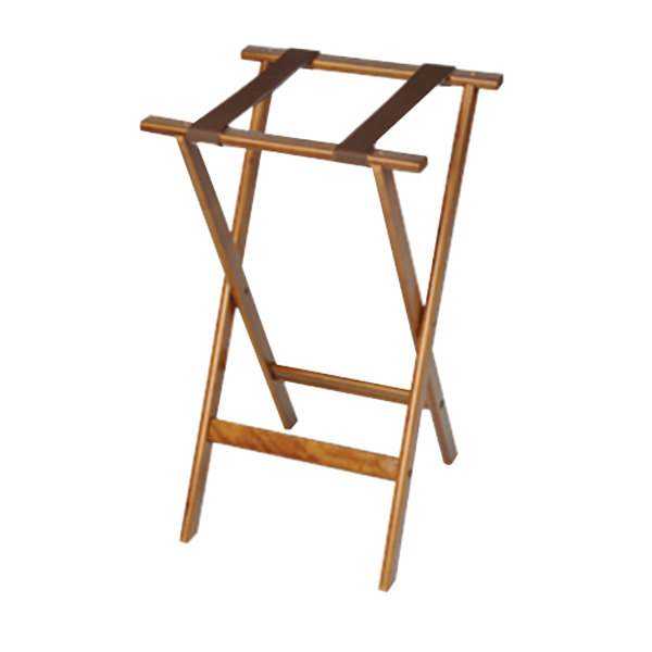 """CSL 1170 Deluxe 30"""" Dark Walnut Wood Tray Stand with Brown Straps - 4/Pack"""