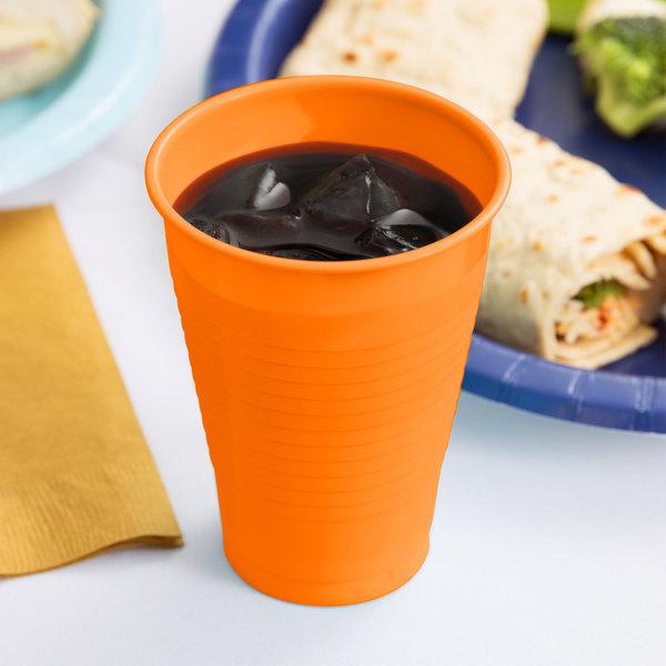 Creative Converting 28191071 12 oz. Sunkissed Orange Plastic Cup - 240/Case Main Image 3
