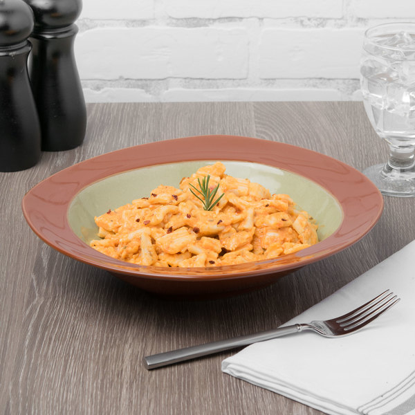 Syracuse China 922224357 Terracotta 30.5 oz. Fern Green Pasta Bowl - 12/Case