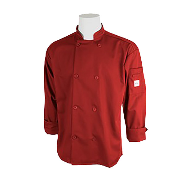 """Mercer Culinary M60010RD2X Millennia Unisex 52"""" 2X Customizable Red Double Breasted Long Sleeve Cook Jacket with Traditional Buttons"""