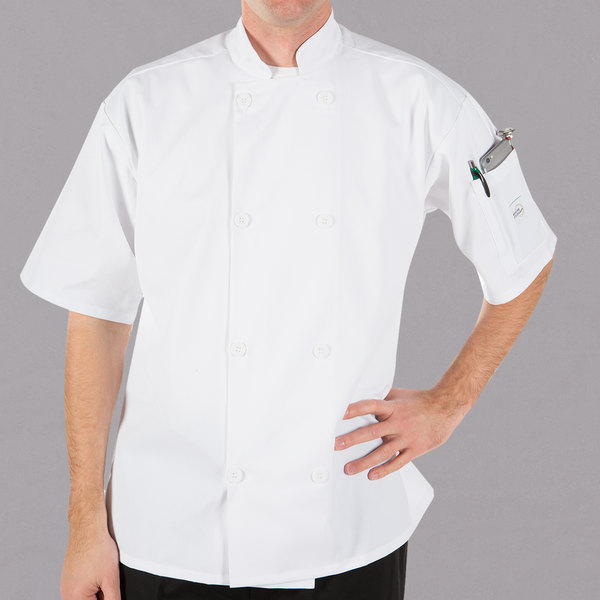 """Mercer Culinary Millennia Unisex 60"""" 4X Customizable White Double Breasted Short Sleeve Cook Jacket with Traditional Buttons"""