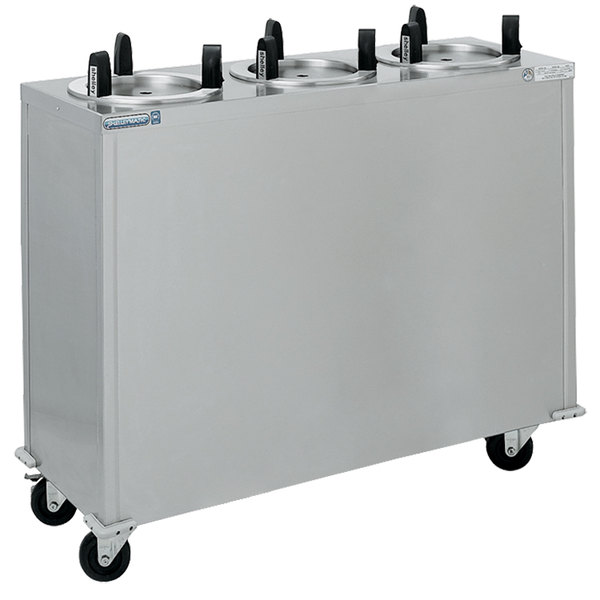 "Delfield CAB3-1013QT Quick Temp Mobile Enclosed Three Stack Heated Dish Dispenser / Warmer for 9 1/8"" to 10 1/8"" Dishes - 208V"