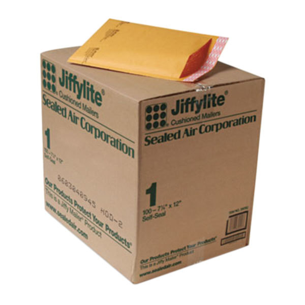 """Jiffylite 39092 7 1/4"""" x 12"""" Self Seal #1 Kraft Mailer - 100/Case Main Image 1"""