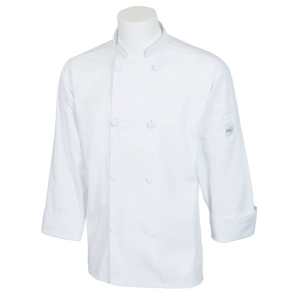 "Mercer Culinary M60012WH4X Millennia Unisex 60"" 4X Customizable White Double Breasted Long Sleeve Cook Jacket with Cloth Knot Buttons"