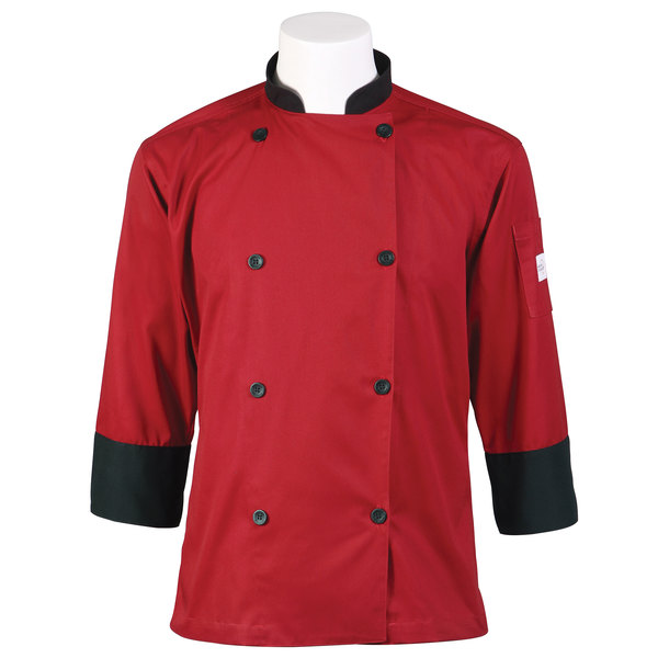 "Mercer Culinary Millennia Unisex 56"" 3X Customizable Red Double Breasted 3/4 Length Sleeve Cook Jacket with Traditional Buttons"