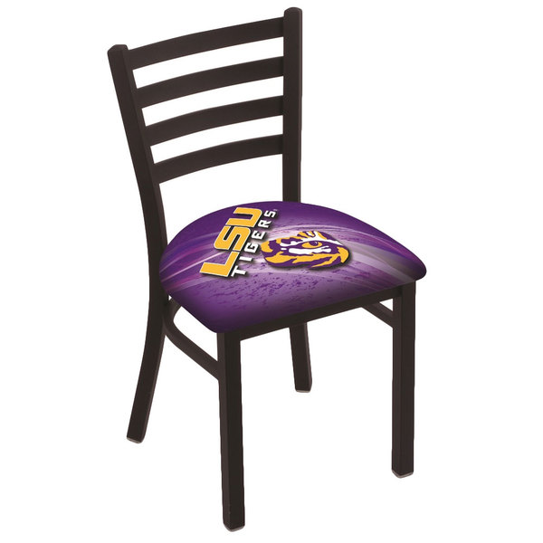 Holland Bar Stool L00418LaStUn-D2 Black Steel Louisiana State University Chair with Ladder Back and Padded Seat Main Image 1