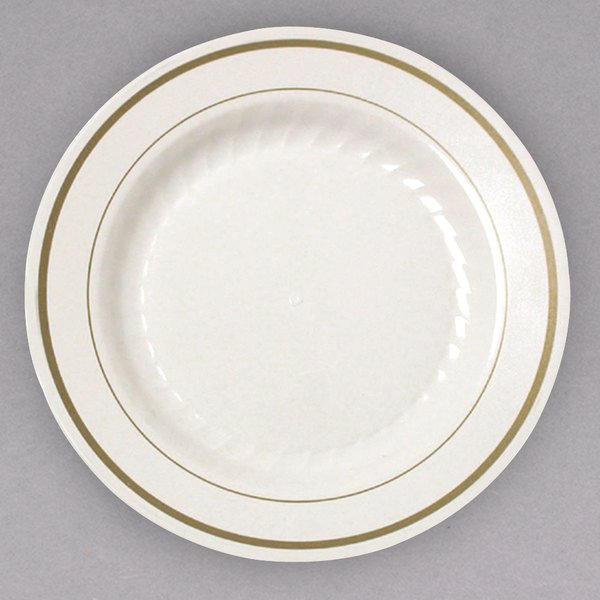 No need to sacrifice style for function with this WNA Comet MP75IPREM 7 1/2  ivory Masterpiece plastic plate with gold accent bands! & WNA Comet MP75IPREM 7 1/2