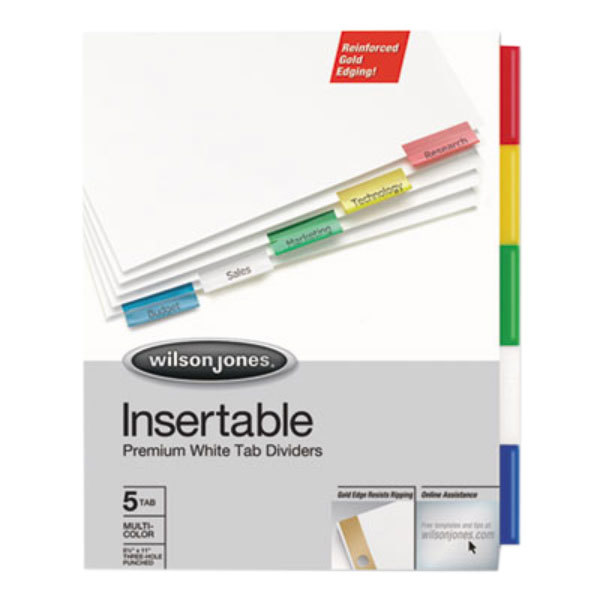 Wilson Jones 54145 Gold Pro 5-Tab Multi-Color Insertable Tab Dividers