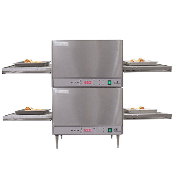 """Lincoln 2500-2 50"""" Digital Single Belt Electric Countertop Double Conveyor Oven Package - 240V, 6 kW Main Image 1"""