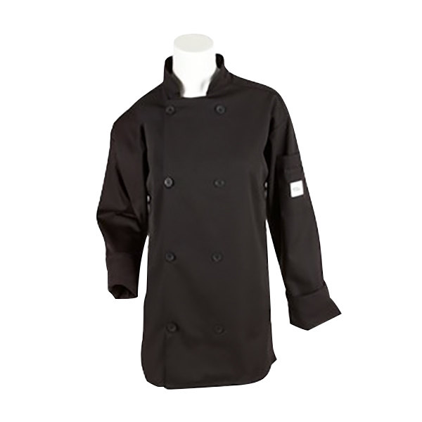 """Mercer Culinary M60010BKS Millennia Unisex 36"""" S Customizable Black Double Breasted Long Sleeve Cook Jacket with Traditional Buttons"""