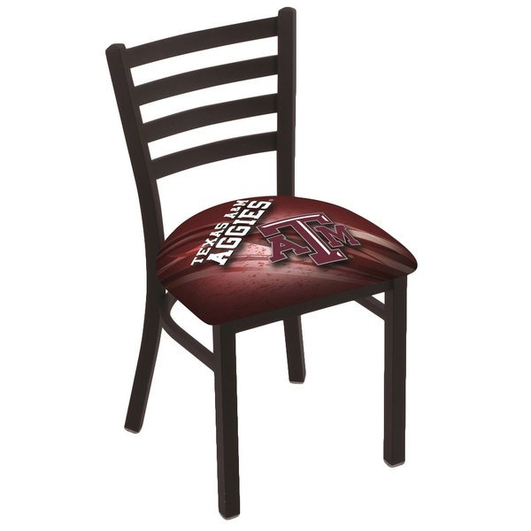 Holland Bar Stool L00418TexA-M-D2 Black Steel Texas A&M Chair with Ladder Back and Padded Seat