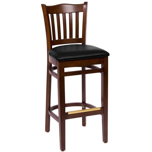"BFM Seating LWB7218WABLV Princeton Walnut Beechwood School House Bar Height Chair with 2"" Black Vinyl Seat"