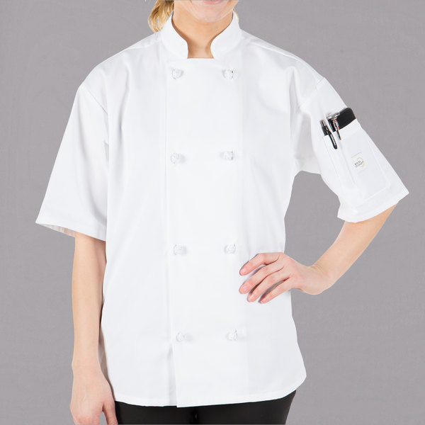 Mercer Culinary Millennia® M60014 Unisex White Customizable Short Sleeve Cook Jacket with Cloth Knot Buttons - XS Main Image 1