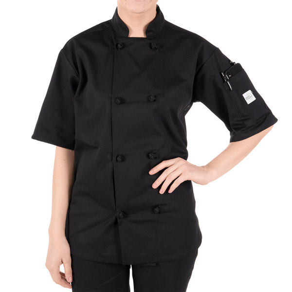 """Mercer Culinary M60014BKS Millennia Unisex 36"""" S Customizable Black Double Breasted Short Sleeve Cook Jacket with Cloth Knot Buttons"""