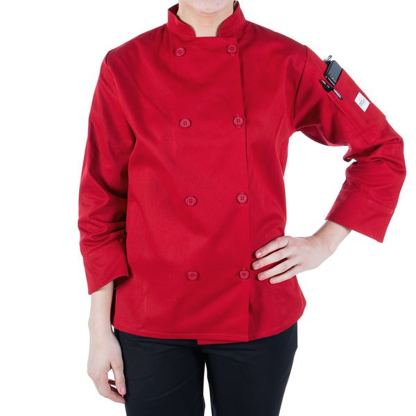 """Mercer Culinary M60020RDL Millennia Women's 38"""" L Customizable Red Double Breasted Long Sleeve Cook Jacket with Traditional Buttons"""
